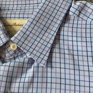 Tommy Bahama 17 1/2 x 34/35 blue and purple shirt